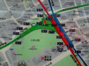 人民広場駅周辺図