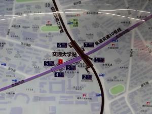交通大学駅周辺図