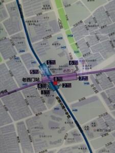 老西門駅周辺図