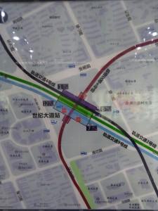 世紀大道駅周辺図