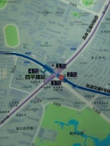 四平路駅周辺図(出入り口)