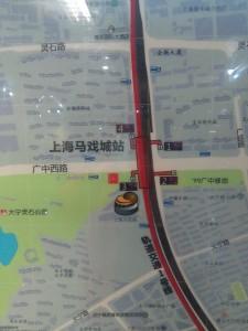 上海馬戯城駅周辺図(出入り口)