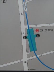 瀋社公路駅周辺図(出入り口)