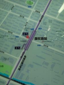 国権路駅周辺図(出入り口)