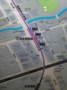 江湾体育場駅周辺図(出入り口)