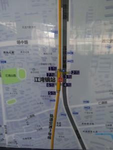 江湾鎮駅周辺図(出入り口)
