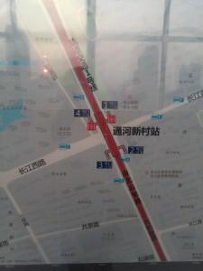 通河新村駅周辺図(出入り口)