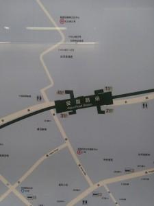 愛国路駅周辺図(出入り口)