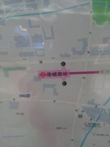 港城路駅周辺図(出入り口)