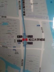 松江大学城駅周辺図(出入り口)