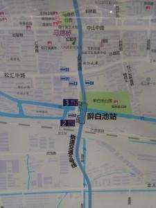 酔白池駅周辺図(出入り口)