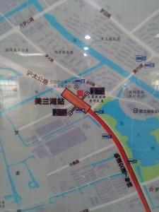 美蘭湖駅周辺図(出入り口)