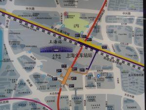 上海火車站駅周辺図
