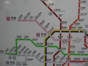 上海地下鉄13号線路線図