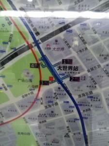 大世界駅周辺図(出入り口)