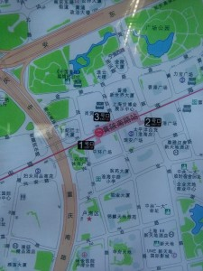 黄陂南路駅周辺図(出入り口)